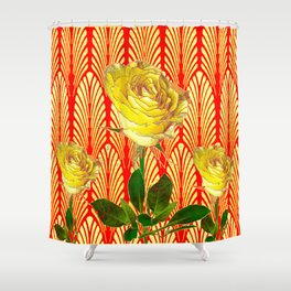 GRAPHIC YELLOW ROSE GARDEN ON RED ART DECO Shower Curtain