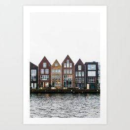Iconic canal houses near Spaarne river in Haarlem in winter | Haarlem historical city, the Netherlands | Urban travel photography Art Print Art Print