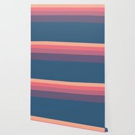 Geometrical orange pink violet blue minimalist stripes Wallpaper