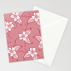 Fashion red flame scarlet white floral hand drawn geometric stripes pattern Stationery Cards