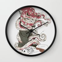 lady Wall Clocks featuring My head is an octopus by Huebucket