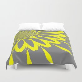 The Modern Flower Gray and Yellow Duvet Cover