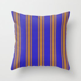 Orange lines on a blue background Throw Pillow