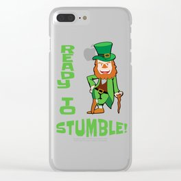 St. Patricks Day Ready to Stumble Leprechaun Clear iPhone Case