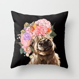 Highland Cow With Flower Crown Black Throw Pillow