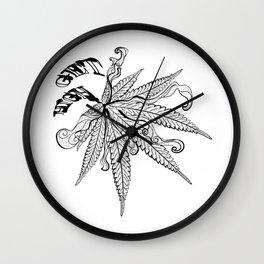 Marijuana leaf with smoke Wall Clock