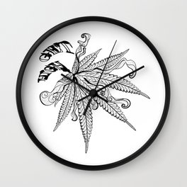 Marijuana leaf with smoke Wall Clock
