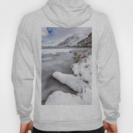Snowfall at Ogwen Lake Snowdonia Hoody