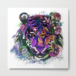 Floral Bohemian Tiger Head Metal Print