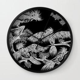 Japanese Birds Inverted Wall Clock