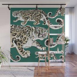 Snow leopard in green Wall Mural