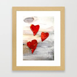 Hearts on Grey Framed Art Print