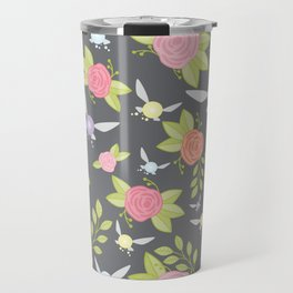 Garden of Fairies Pattern in Grey Travel Mug