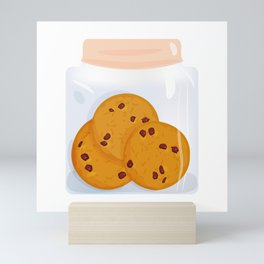 Chocolate chip cookie, homemade biscuit in glass jar Mini Art Print