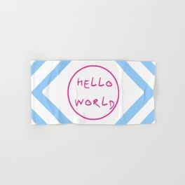 hello world 6 pink and blue Hand & Bath Towel