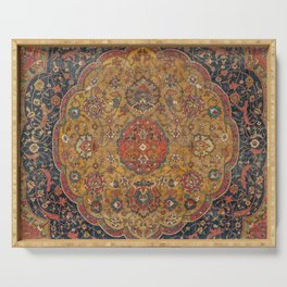 Persian Medallion Rug VI // 16th Century Distressed Red Green Blue Flowery Colorful Ornate Pattern Serving Tray