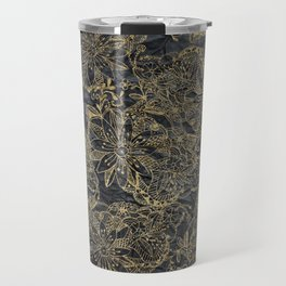 Glam black gray faux gold creased paper floral Travel Mug