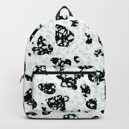 Triple Terrazzo - Mint Green Black & White Modern Speckle Pattern Backpack