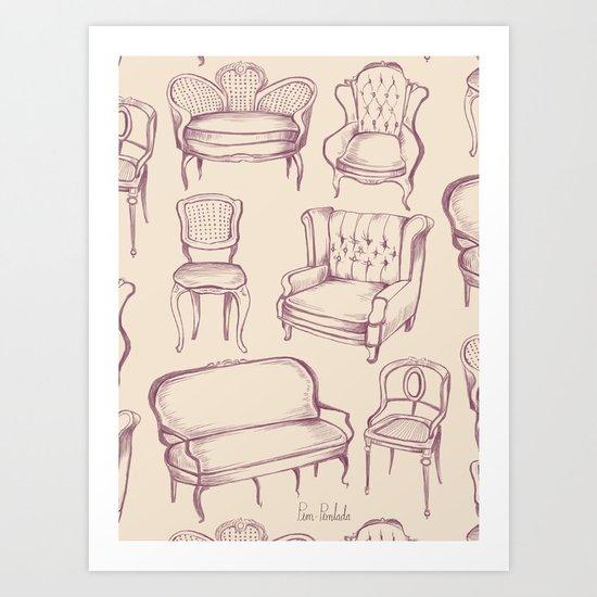 Vintage Chairs Art Print