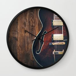 Guitar on Wood Wall Clock