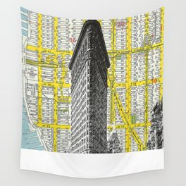 Flatiron Building - NYC Map Background Landmark urban city decor Wall Tapestry