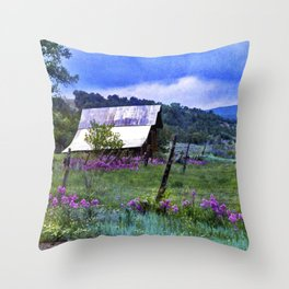 Purple Dames Rocket Ranch Saturated by CheyAnne Sexton Throw Pillow