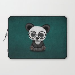 Cute Panda Bear Cub with Eye Glasses on Teal Blue Laptop Sleeve