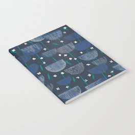 Botanical Block Print M+M Navy by Friztin Notebook