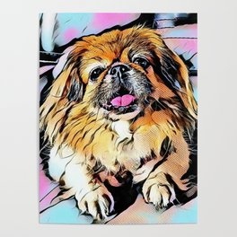 Pekingese Cartoon photo Poster