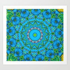 Lovely Healing Mandalas in Brilliant Colors: Blue, Green, Yellow, and Pink Art Print