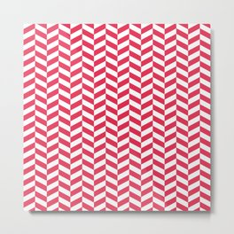 Amaranth Red Herringbone Pattern Metal Print