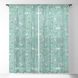 Spring Pattern of Bunnies with Turtles Sheer Curtain