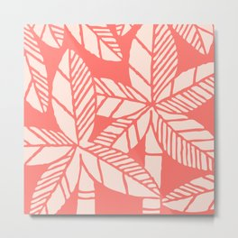 Tropical Palm Tree Composition Coral Metal Print
