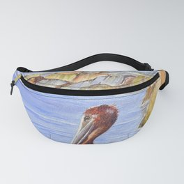 Pelican And Snowy Egrets On A Jetty Fanny Pack