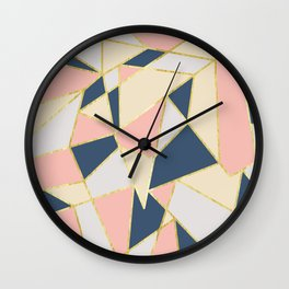Girly Geometric Triangles with Faux Gold Wall Clock