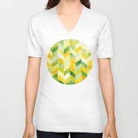 herringbone V-neck T-shirts featuring Green Herringbone by MirKat Design