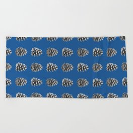 Monochrome Pine Cones Winter Blue Beach Towel