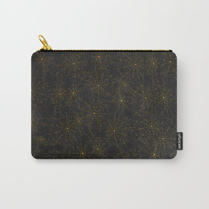 Autumn-world 4 - gold spiderwebs on chalkboard Carry-All Pouch