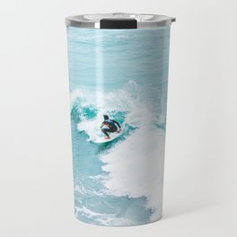 Wave Surfer Turquoise Travel Mug