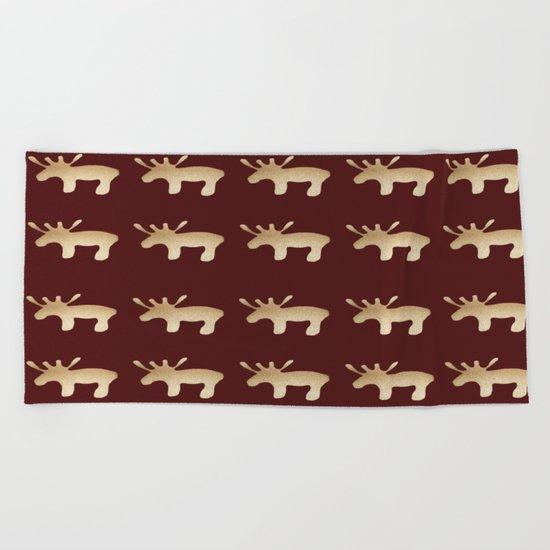 Reindeer queues Beach Towel