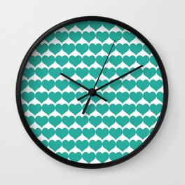 Mint heart pattern Wall Clock