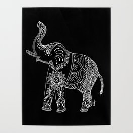 Elephant doodle in black and white. Poster