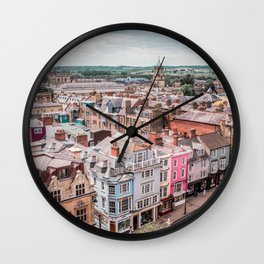 Colorful Buildings in Oxford   London UK City Architecture Urban Photography Wall Clock