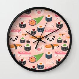 Kawaii sushi light pink Wall Clock