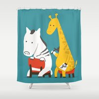 tattoo Shower Curtains featuring Zebra Tattoo by Picomodi