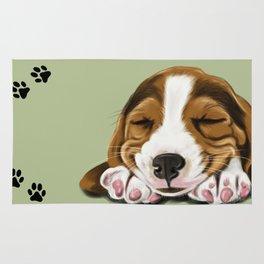 Sleeping Basset Hound Rug