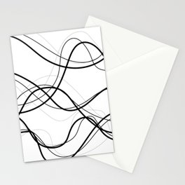 Flowing Black Contrast Lines Stationery Cards