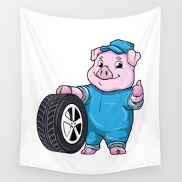 Pig as Car mechanic with Tires Wall Tapestry