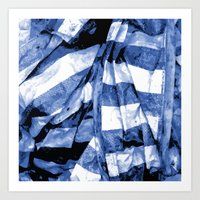 bands Art Prints featuring Blue Bands by Motif Mondial