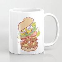 hamburger Mugs featuring Hamburger Time by hollypop